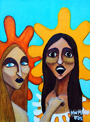 Art Print featuring the painting Girls Caught In Fraganti by Don Pedro De Gracia