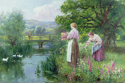 Woman Fishing Painting - Girls Collecting Flowers by Henry John Yeend King
