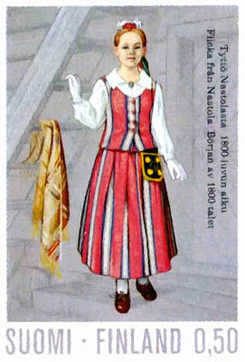 Retro Look Painting - Girls Costume From Nastola by Lanjee Chee
