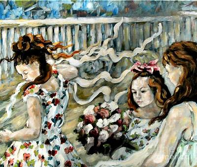 Party Scene Painting - Girls Dancing by Carrie Joy Byrnes