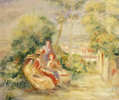 Painting - Girls In A Garden by Pierre Auguste Renoir