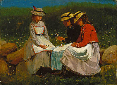 Winslow Homer Painting - Girls In A Landscape by Winslow Homer