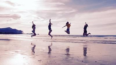 Girls Jumping On Lofoten Beach Art Print