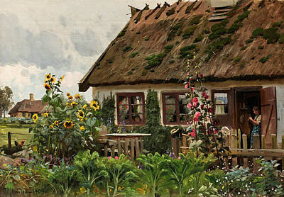 Painting - Girls Knitting In The Doorway by Peder Monsted