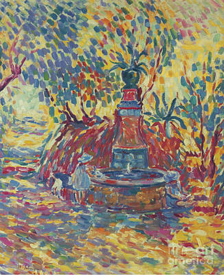 Saint Tropez Painting - Girls Near The Fountain by MotionAge Designs