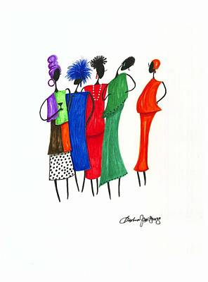 Girls Night Out Art Print by Bee Jay