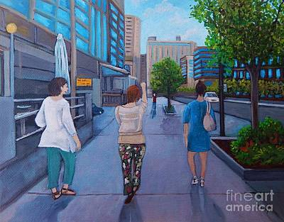 Montreal Scenes Painting - Girls Night Out by Reb Frost