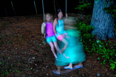 Photograph - Girls On Swing by M G Whittingham