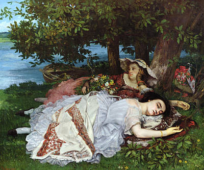 Courbet Painting - Girls On The Banks Of The Seine by Gustave Courbet