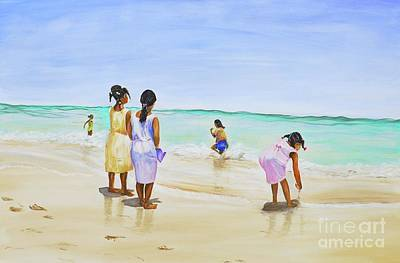Girls On The Beach Art Print