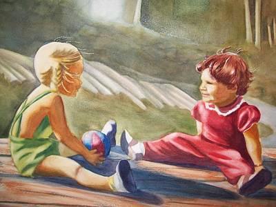 Girls Playing Ball  Art Print by Marilyn Jacobson