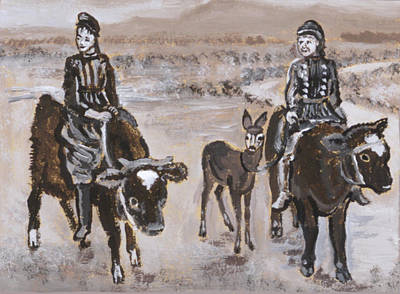 Painting - Girls Riding Calves Historical Vignette by Dawn Senior-Trask
