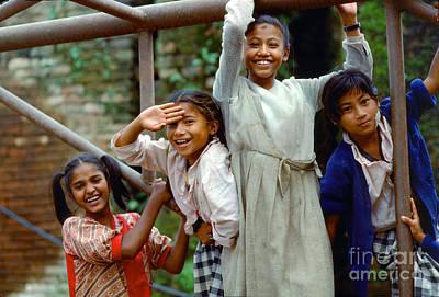 Photograph - Girls Smiling In Kathmandu, Nepal by Wernher Krutein
