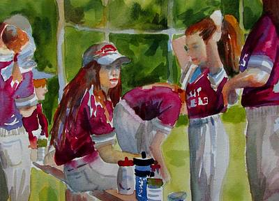 Softball Painting - Girls Softball  by Linda Emerson