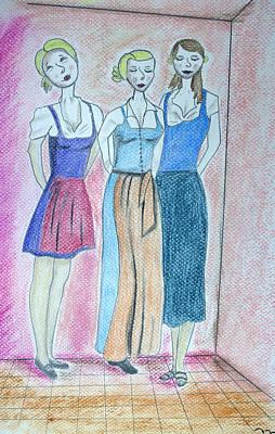Pastel Portrait Pastel - Girls Standing by M Valeriano
