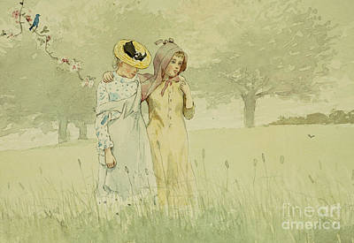 Girl In Landscape Painting - Girls Strolling In An Orchard by Winslow Homer
