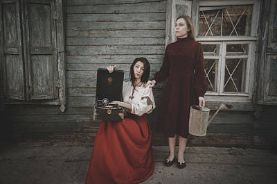 Photograph - Girls Waiting. Back To The Past by Inna Mosina
