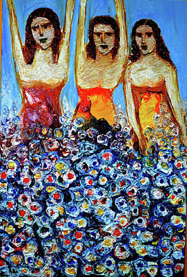 Painting - Girls With Flowers by Anand Swaroop Manchiraju