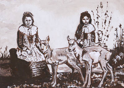 Painting - Girls With Pronghorn Fawns Historical Vignette From River Mural by Dawn Senior-Trask