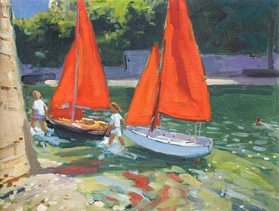 Summer Fun Painting - Girls With Sail Boats Looe by Andrew Macara