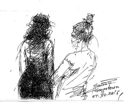 Young Drawing - Girls by Ylli Haruni