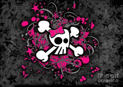 Girly Skull And Bones Art Print