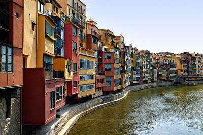 Girona Riverfront Art Print by Mathew Lodge