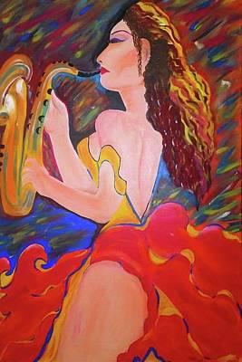 Bailarina Painting - Gitana Trompetista by Davileine Borrego