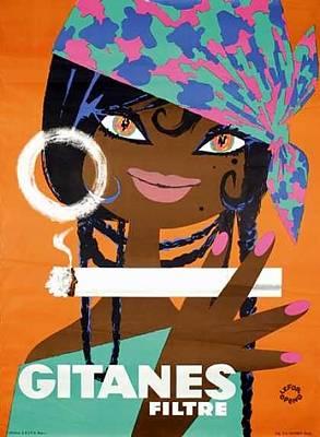 Digital Art - Gitanes Filtre Cigarette Ad France by ReInVintaged