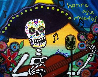 Gitarero Day Of The Dead Art Print by Pristine Cartera Turkus