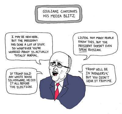 Drawing - Giuliani Continues His Media Blitz by Avi Steinberg