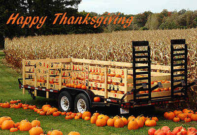 Photograph - Give Thanks Pumpkin Wagon - Happy Thanksgiving by Debbie Oppermann