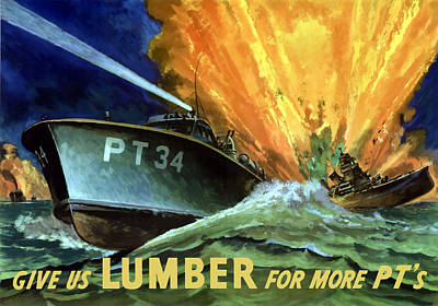 Us Navy Painting - Give Us Lumber For More Pt's by War Is Hell Store