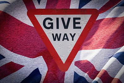 Photograph - Give Way Sign With Union Jack Flag Fine Art by Jacek Wojnarowski