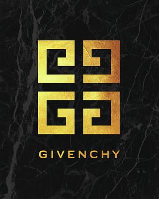 Noir Digital Art - Givenchy - Black And Gold by Alta Vita