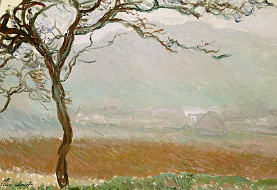 Mist Painting - Giverny Countryside by Claude Monet