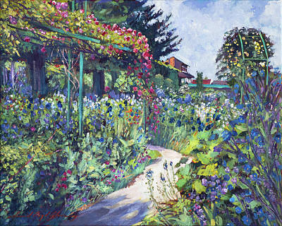 Blue Iris Painting -  Giverny Garden De Monet by David Lloyd Glover