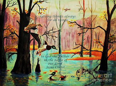 Wood Duck Painting - Giving Thanks Always by Hazel Holland