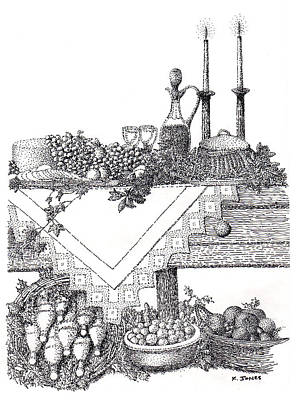 Food And Drink Drawing - Giving Thanks by Ken Jones