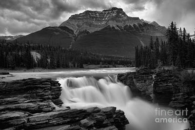 Photograph - Glacial Falls Under The Storm Black And White by Adam Jewell