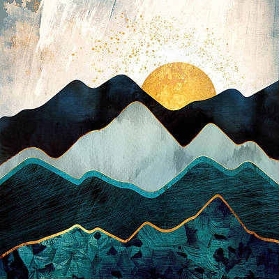 Abstract Landscape Digital Art - Glacial Hills by Spacefrog Designs