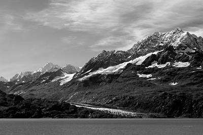 Photograph - Glacier Bay Seascapes. Johns Hopkins Glacier Bw by Connie Fox