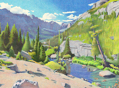 Drawing - Glacier Gorge by Dan Miller