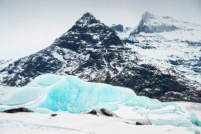 Photograph - Glacier Landscape Iceland Blue Black White by Matthias Hauser