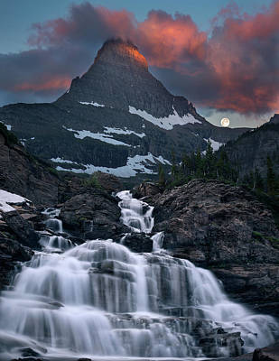 Photograph - Glacier Morning Waterfall And Moonset by William Lee
