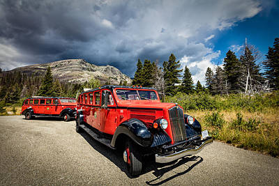 Photograph - Glacier National Park Antique Bus by Andres Leon