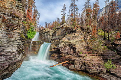 Photograph - Glacier National Park Chilly Waterfall by Andres Leon