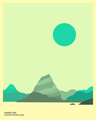 Minimal Landscape Digital Art - Glacier National Park, Hidden Lake by Jazzberry Blue