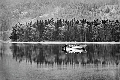 Photograph - Glacier National Park Lake Reflections In Black And White by Kay Brewer