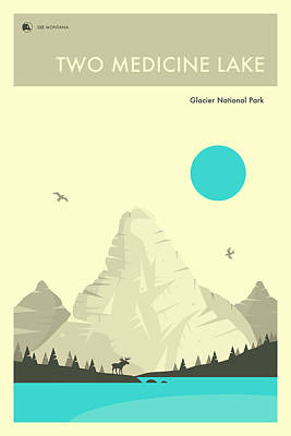 Glacier National Park Digital Art - Glacier National Park Poster - Two Medicine Lake by Jazzberry Blue